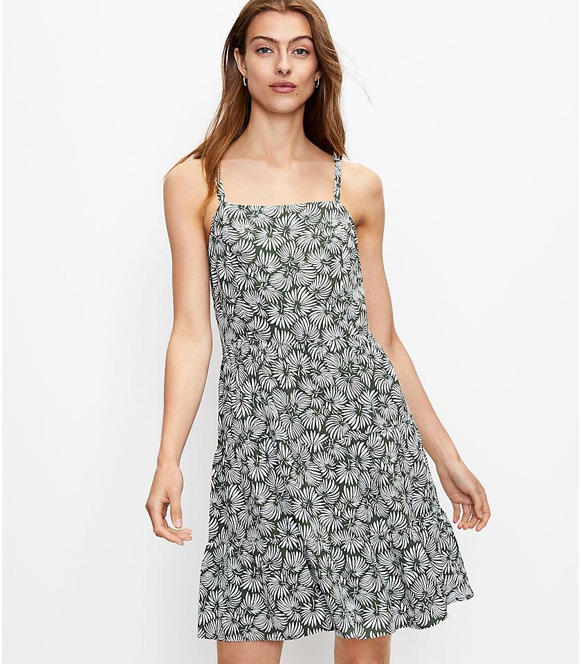 로프트 LOFT Leafed Tiered Mini Dress,Wild Vine