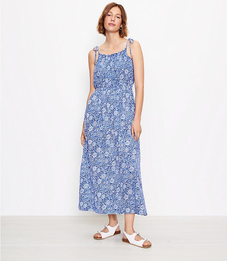 Loft Beach Floral Bow Strap Smocked Maxi Dress