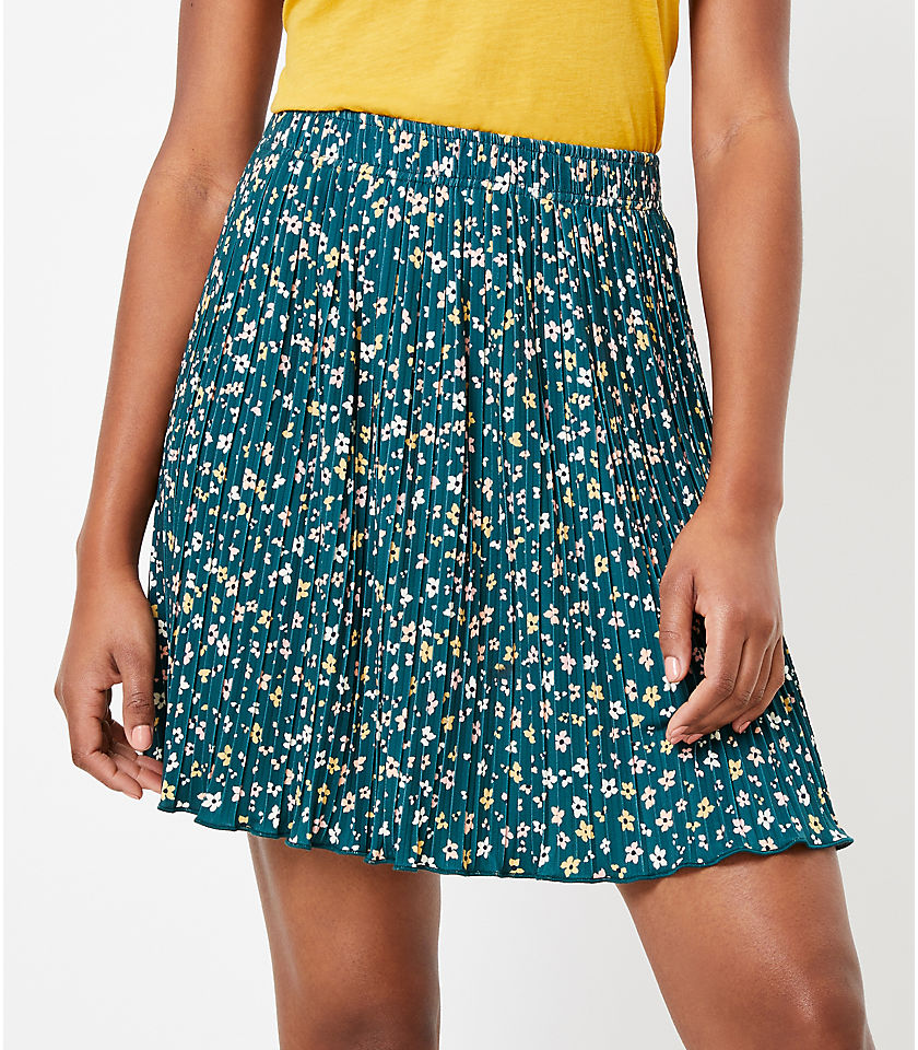 로프트 LOFT Floral Pleated Skirt,Greenery