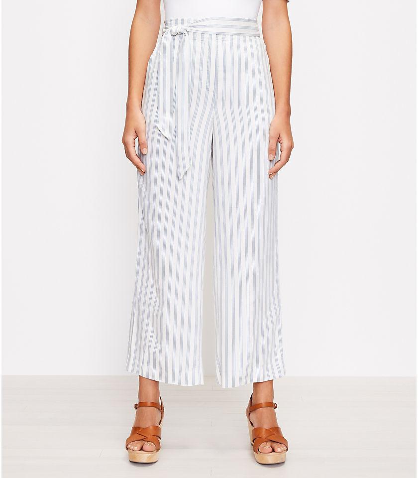 로프트 LOFT Tie Waist Pull On Wide Leg Pants in Stripe,Blue Multi