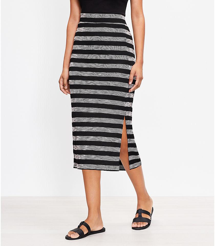 로프트 LOFT Geo Striped Slit Column Pull On Skirt,Black/White Multi