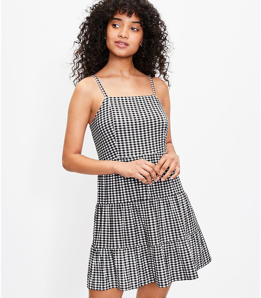 로프트 LOFT Gingham Tiered Mini Dress,Black/White Multi