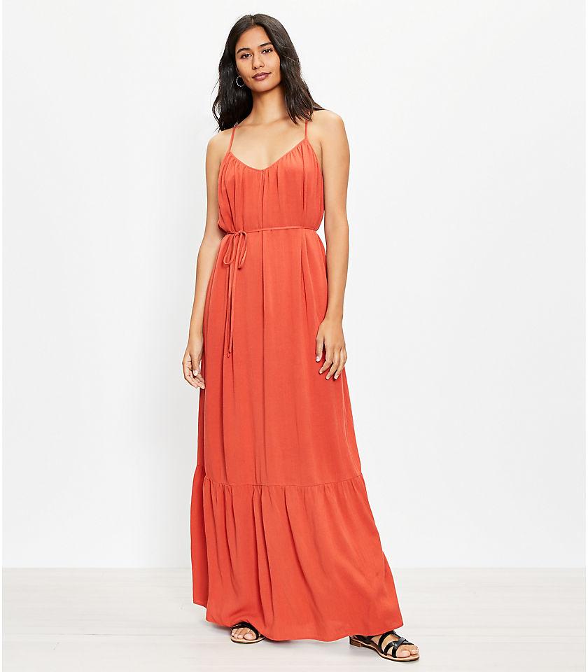 로프트 LOFT Tie Back Strappy Maxi Dress,Coral Splash