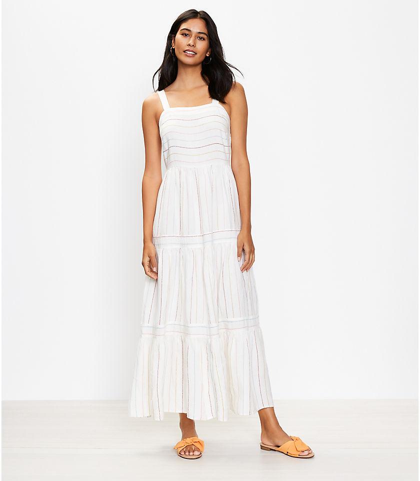 로프트 LOFT Striped Tiered Maxi Dress,Whisper White