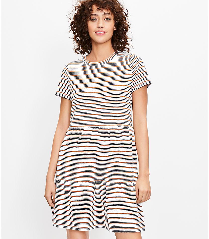 로프트 LOFT Striped Tiered Tee Dress,Whisper White