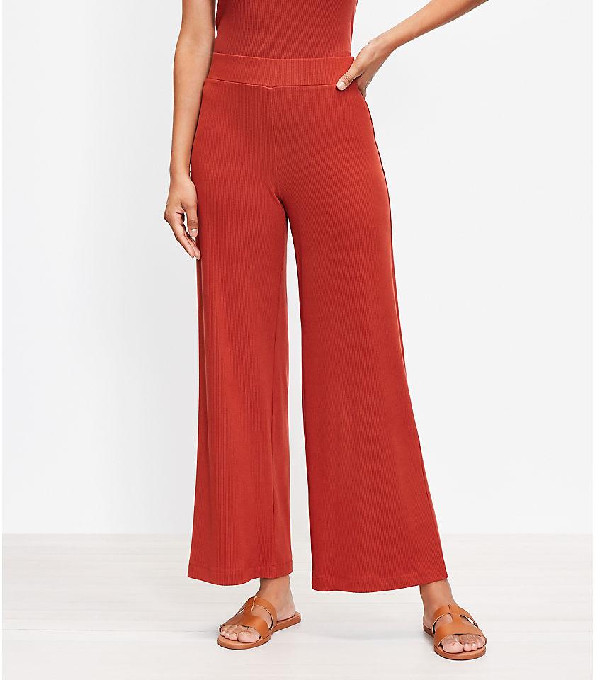 로프트 LOFT Pull On Wide Leg Crop Pants in Rib Knit,Radiant Copper