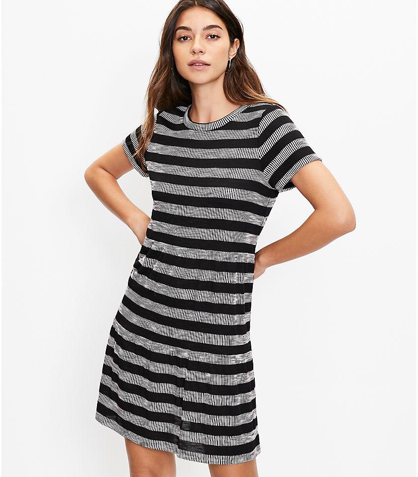 로프트 LOFT Geo Striped Tiered Tee Dress,Black