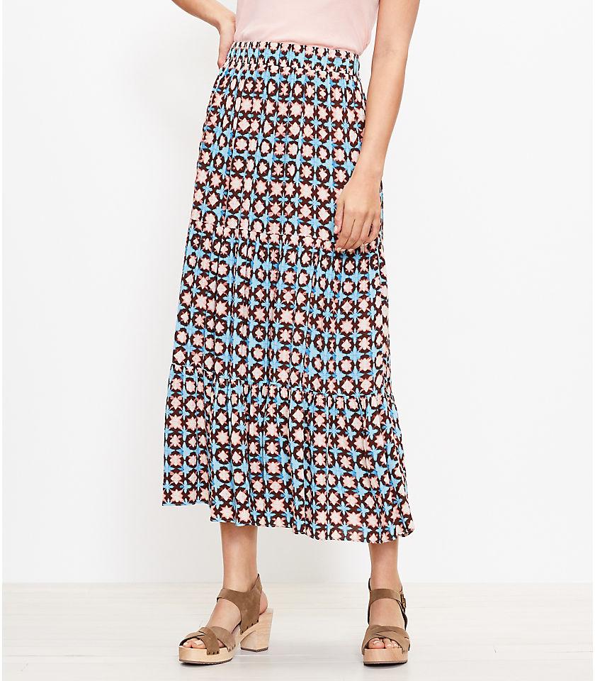 로프트 LOFT Sunwashed Floral Tiered Pull On Maxi Skirt,Seawater