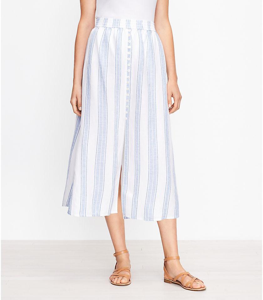 로프트 LOFT Striped Button Trim Pull On Midi Skirt,Whisper White