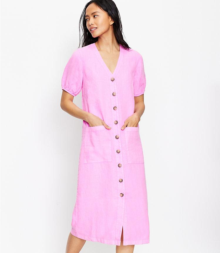 LOFT Lou & Grey Linen Pocket Women's Midi Dress