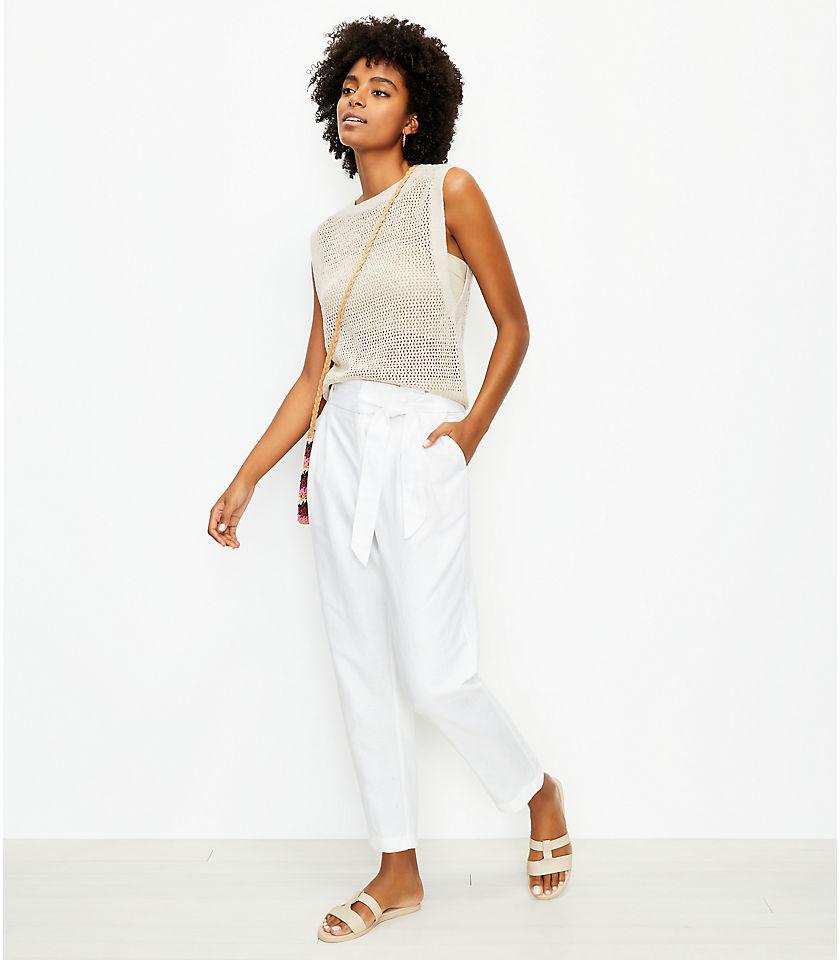 로프트 LOFT Paperbag Pull On Pants in Linen Blend,White