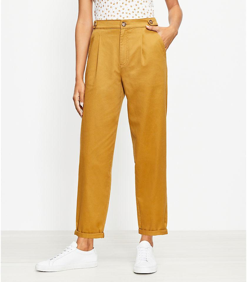 로프트 LOFT Button Tab Tapered Pants in Twill,Golden Bronze