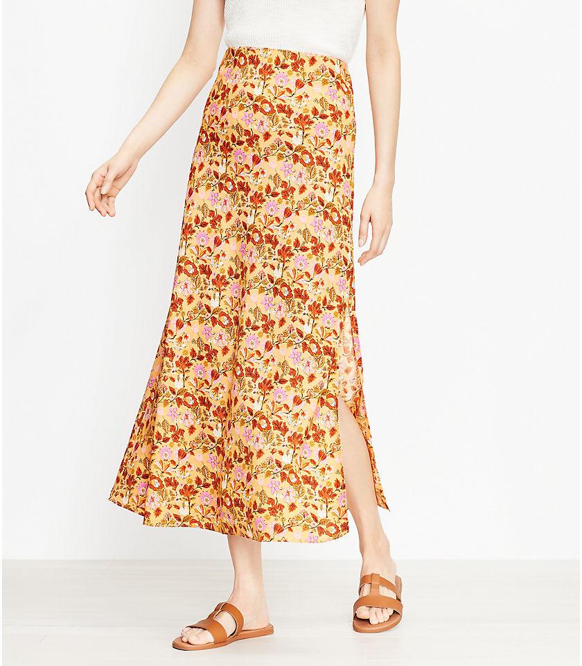 로프트 LOFT Garden Pull On Midi Skirt,Mineral Yellow