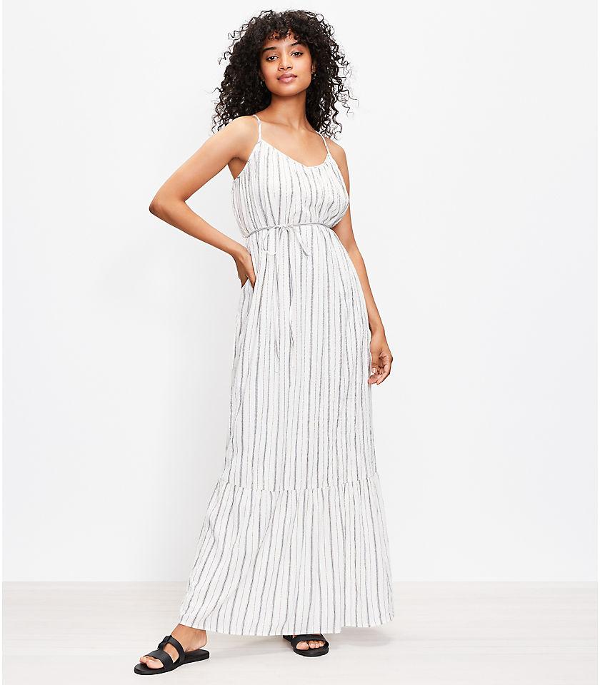 로프트 LOFT Shimmer Stripe Tie Back Maxi Dress,Whisper White