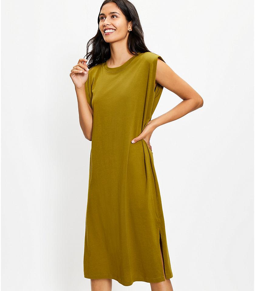 로프트 LOFT Muscle Tee Midi Dress,Vine Green