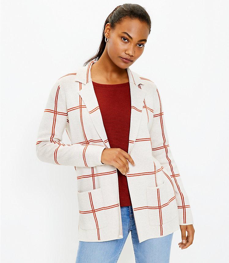 Plaid Pocket Sweater Blazer