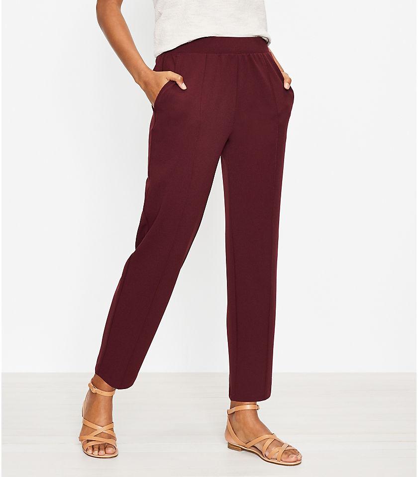 로프트 LOFT Pintucked Tapered Pants in Crepe
