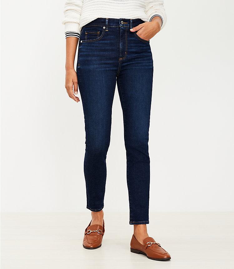 High Rise Skinny Jeans In Classic Dark Indigo Wash