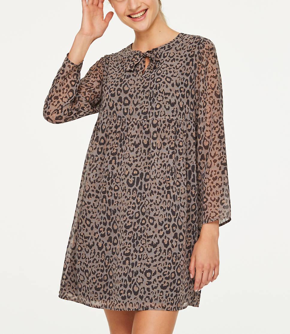 760b2b359a03 Petite Leopard Print Swing Dress