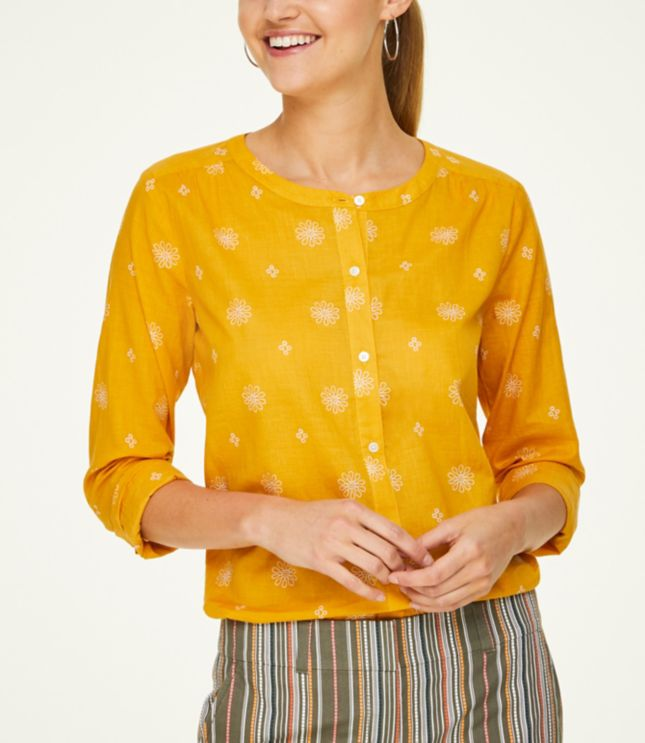 Loft Floral Button Down Blouse (Rustic Gold)