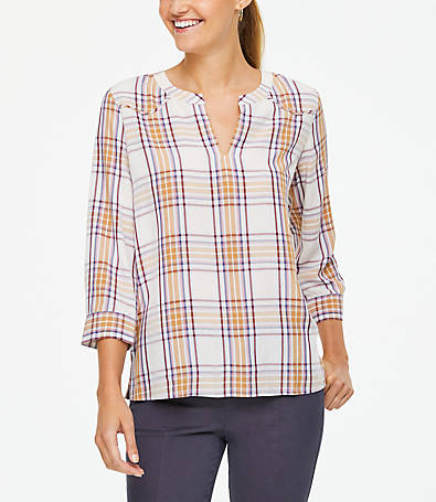 LOFT Plaid V-Neck Blouse