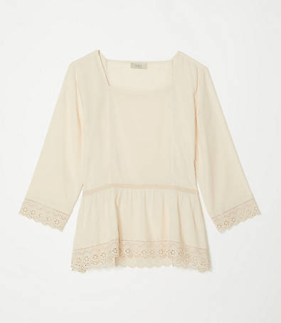 LOFT Lace Square Neck Blouse