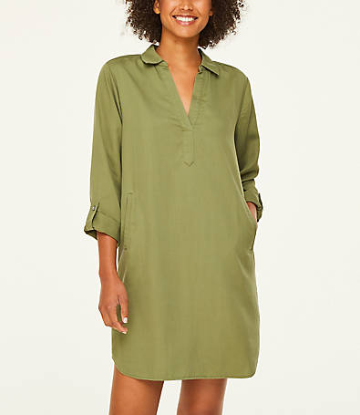 LOFT 3/4 Sleeve Split Neck Dress