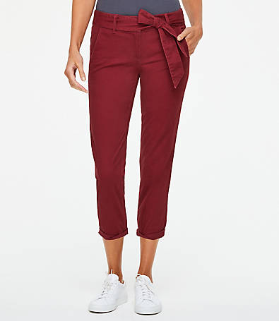 LOFT Belted Chino Crop Pants