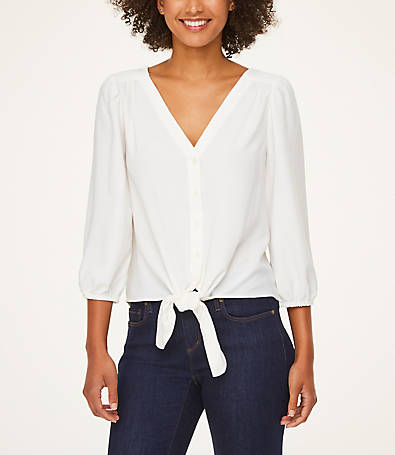 LOFT Tie Front Button Down Blouse
