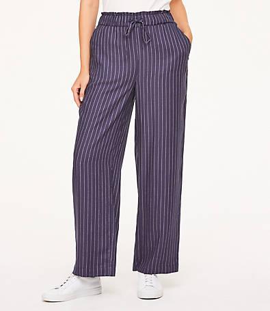 LOFT Tie Waist Wide Leg Pants