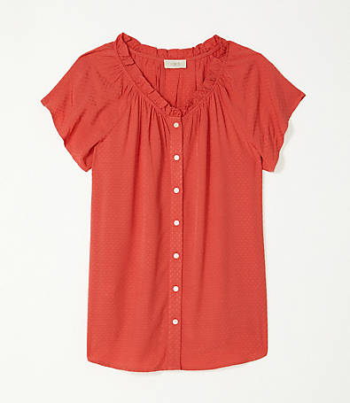 LOFT Gathered Ruffle Neck Top