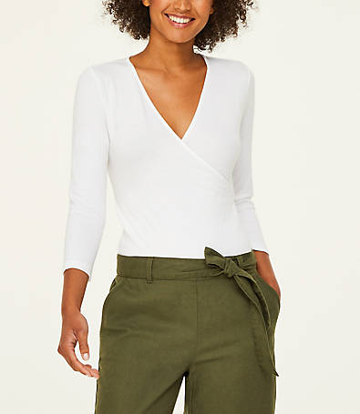 LOFT 3/4 Sleeve Wrap Bodysuit