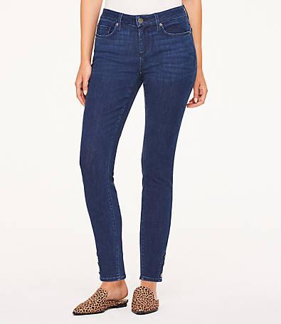 LOFT Petite Curvy Button Hem Skinny Jeans in Rich Mid Indigo Wash