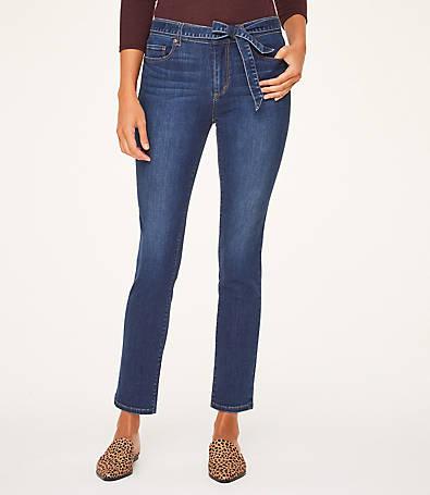 LOFT Belted High Waist Straight Leg Jeans in Dark Wash