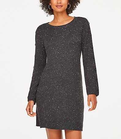 LOFT Button Sleeve Sweater Dress