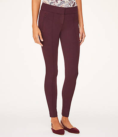 LOFT Petite Pintucked Ponte Leggings