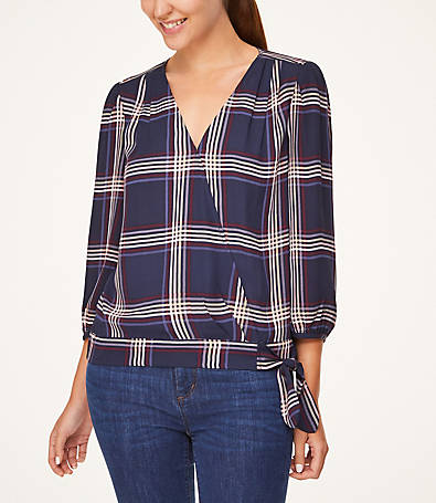 LOFT Plaid Tie Hem Wrap Blouse