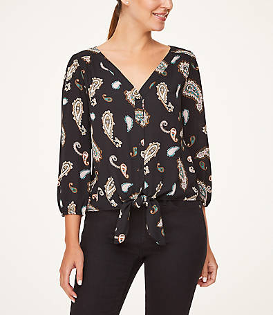 LOFT Paisley Tie Front Button Down Blouse