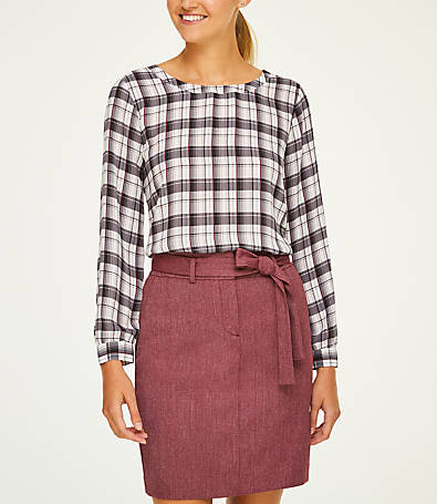 LOFT Plaid Knot Back Blouse