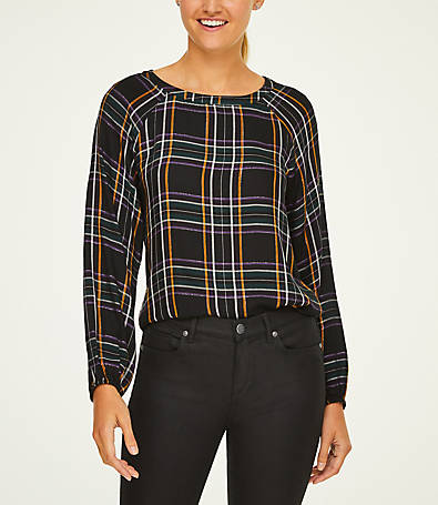 LOFT Shimmer Plaid Boatneck Blouse