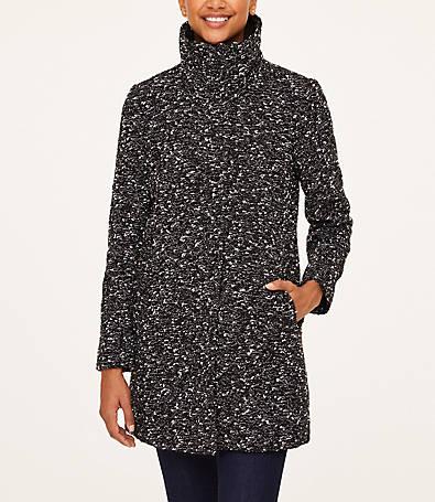 LOFT Tweed Funnel Neck Coat