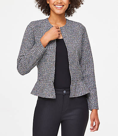 LOFT Textured Knit Peplum Jacket