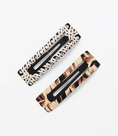 LOFT Animal Print Barrette Set
