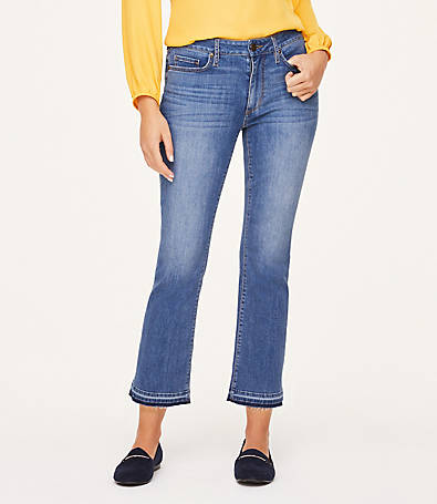 LOFT Curvy Released Hem Demi Bootcut Jeans in Lotus Wash