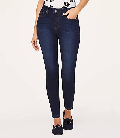 LOFT Curvy Released Hem High Rise Skinny Ankle Jeans in Coastal Breeze Wash