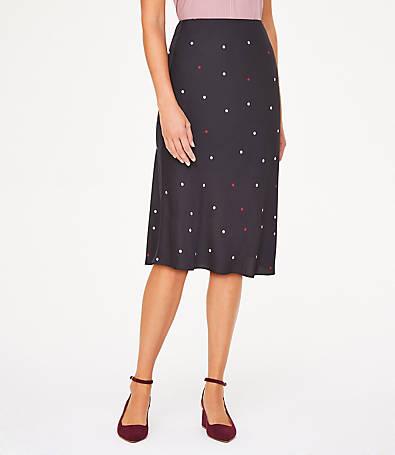 LOFT Dotted Midi Skirt