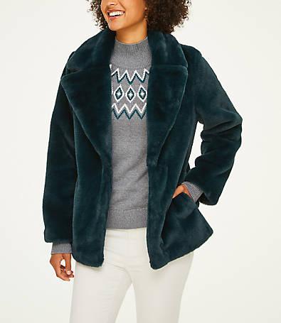 LOFT Faux Fur Coat