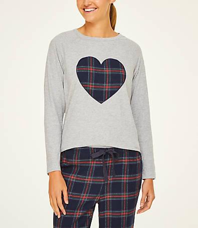LOFT Plaid Heart Pajama Top