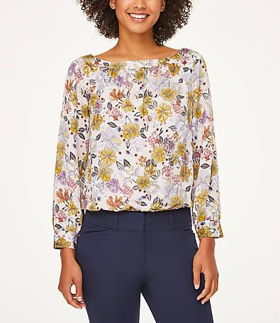 LOFT Floral Blouse Bodysuit
