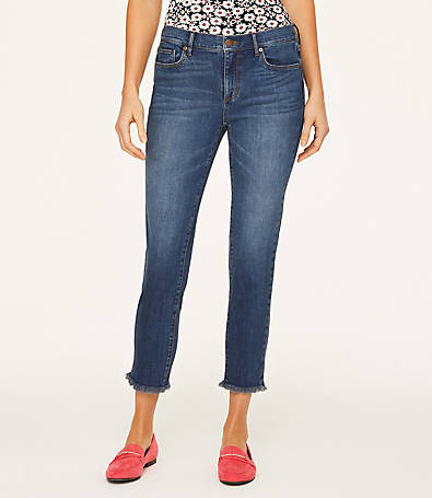LOFT Curvy Frayed Crop Jeans in Marine Blue Wash